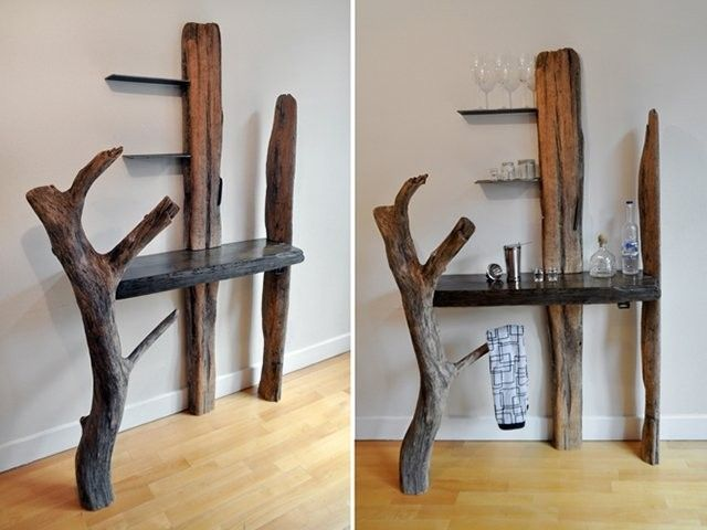 SUCH a cool driftwood bar. Shelves and hangers included.