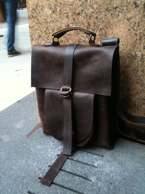 Handmade leather rucksack - brown backpack/rucksack, leather computer bag, brown travel bag, man bag