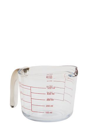 """500ml glass measuring jug with handle, markings include milliliter, cup, quart and fluid ounce.<div class=""""pdpDescContent""""><BR /><b class=""""pdpDesc"""">Dimensions:</b><BR />L16xW10xH12 cm</div>"""