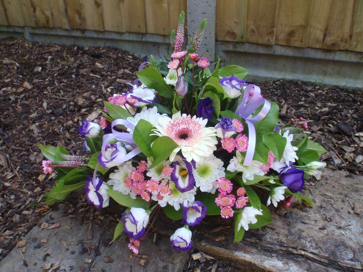 purple and pink posy perfect for a small funeral tribute