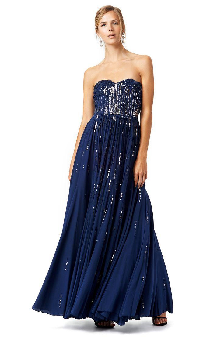 Lo lo lord and taylor party dresses - Long Strapless Navy Gown With Sequined Bodice Meteor Shower Gown By Rebecca Taylor
