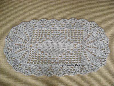 Tapete de Croche em Barbante - Com Grafico Flores Redondo Oval | Rei da Verdade