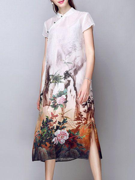 Shop Midi Dresses - Multicolor Vintage Linen Two Piece Midi Dress online. Discover unique designers fashion at StyleWe.com.