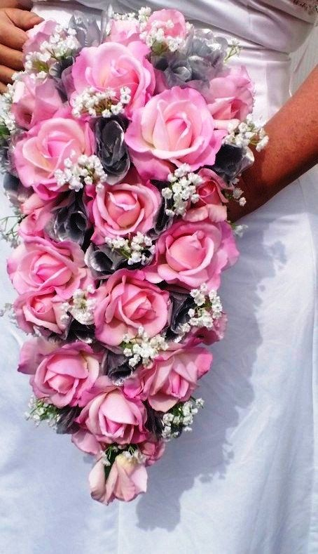 Cascading Real touch Pink Rose Bouquet Pink by SilkFlowersByJean,