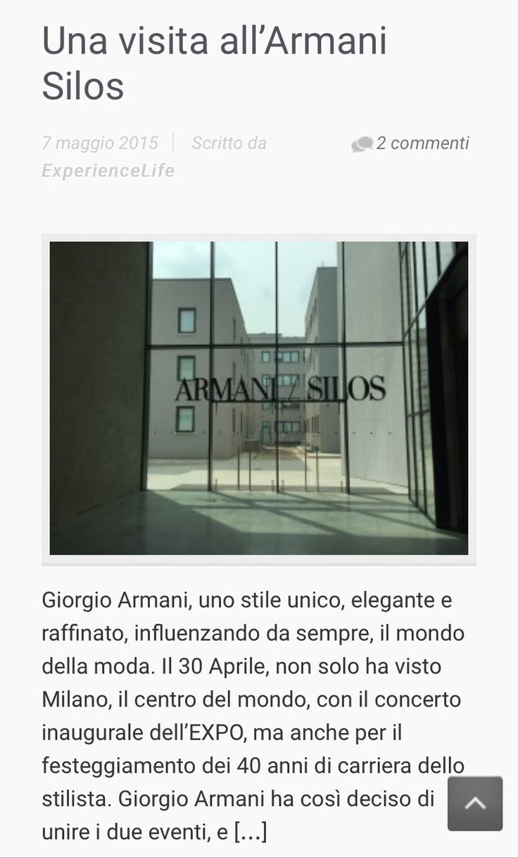 Experiencelife vi porta all'interno dell'Armani Silos, il nuovo museo donato da Giorgio Armani alla città di Milano per i suoi 40 anni di carriera. L'articolo completo su www.experiencelife.it @armani #giorgioarmani #armanisilos #expo #expo2015 #fashion #style #stylish #love #TagsForLikes.com #me #cute #photooftheday #nails #hair #beauty #beautiful #instagood #pretty #swag #pink #girl #girls #eyes #design #model #dress #shoes #heels #styles #outfit