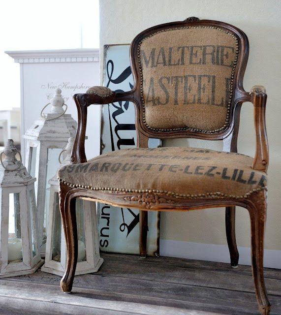 burlap  reupholstered armchair