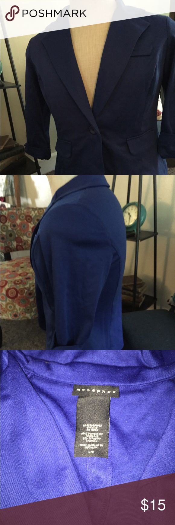 Royal blue blazer in like new condition Beautiful like new blazer in a gorgeous royal blue. Worn only once and in excellent used condition. Metaphor Jackets & Coats Blazers