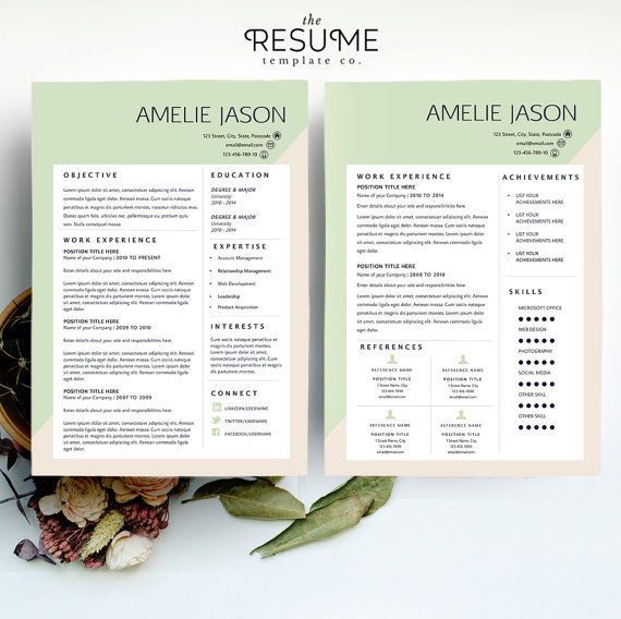 Resume Template and Cover Letter Printable by TheResumeTemplateCo