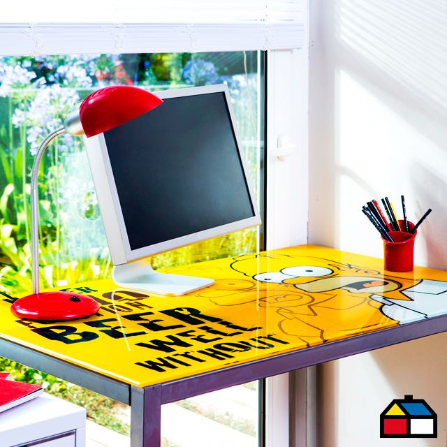 Gen rico escritorio vidrio simpsons for Escritorios homecenter