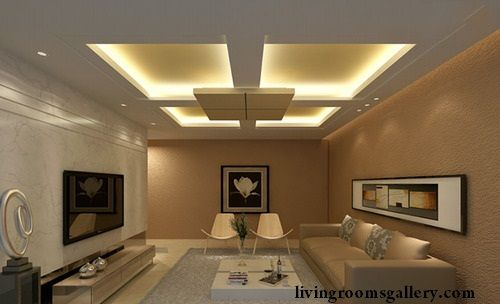 mullti-level ceiling design with led ceiling lights ideas
