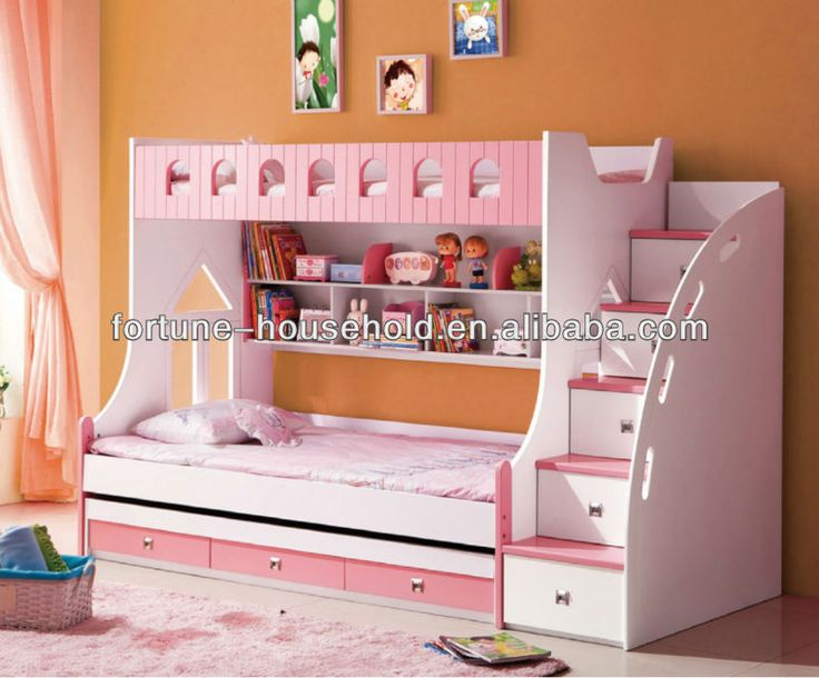 Wood double bed designs bunk beds with stairs kids for Cheap bunk bed ideas