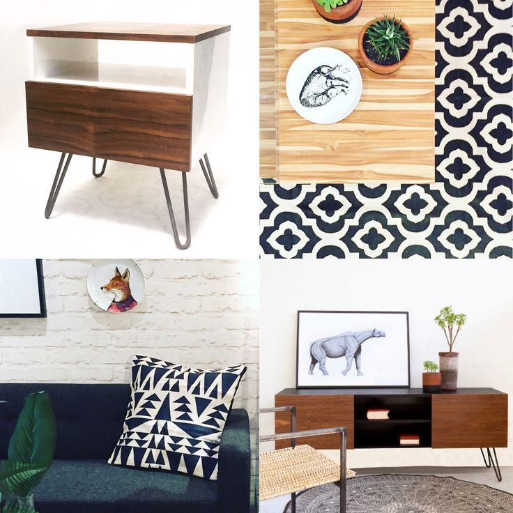 Blanco y Negro. Líneas simples, madera de Acacia, Hairpin Legs.  #hairpinlegs #furniture #new #design #decor