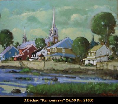 Original mixed media painting on canevas by Gilles Bedard #GillesBedard #artist #art #mixmediapainting #artist #originalpainting #fineart #canadianartist #quebecartist  #landscape #shadows #light #brightColors #Kamouraska #multiart #balcondart