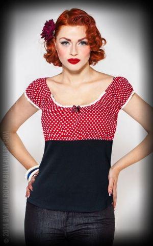 Rumble59 Ladies - Carmenshirt - Sweet Polkadots - weinrot