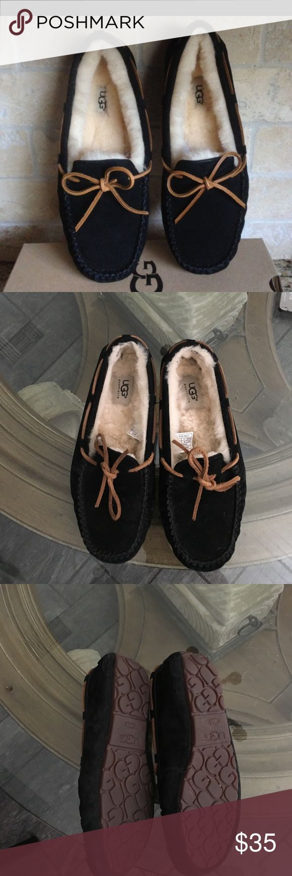 UGG Dakota slippers Slipping into the UGG Dakota is like wrapping your foot in a cloud. This fully-lined, moccasin-style UGG slipper is deceptively simple to the eye, yet is thoughtfully designed with every aspect of your comfort and convenience in mind. Reminiscent of the classic boat shoe, the Dakota's supple suede and 360° leather lacing lend a casual vibe. Pair this go-anywhere, do-anything slipper with yoga pants or your favorite jeans for a look that's as cute as it is comfy.  No flaws…