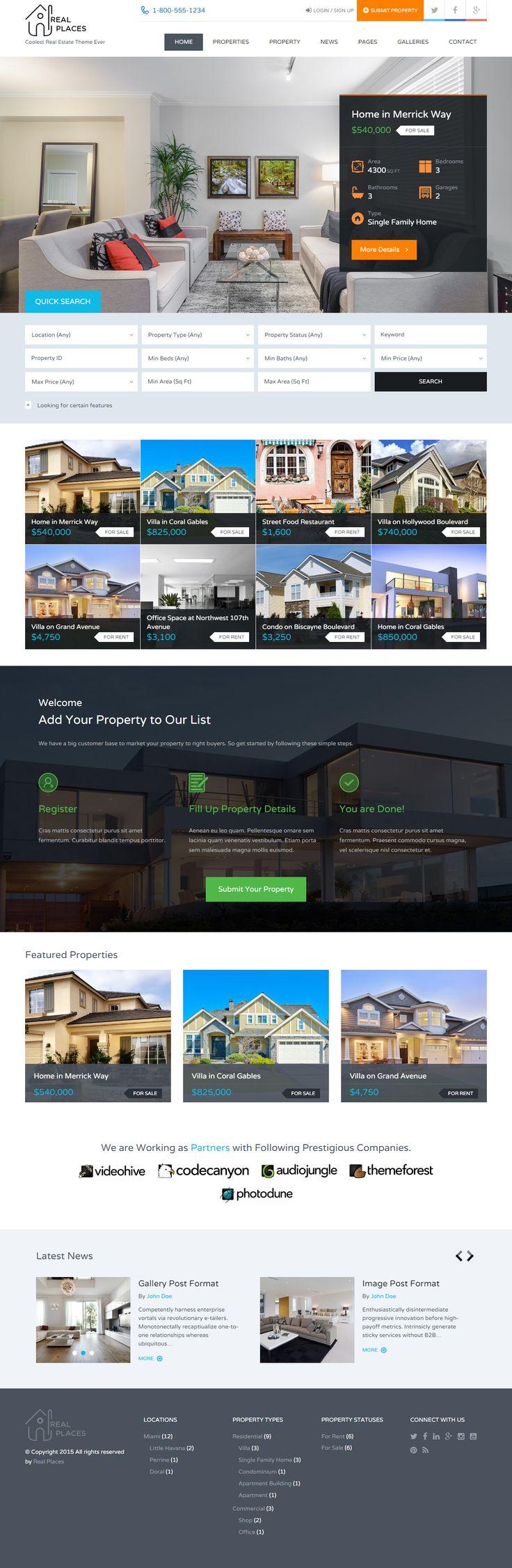 Real Places is Premium full Responsive Retina #WordPress #RealEstate #Theme…
