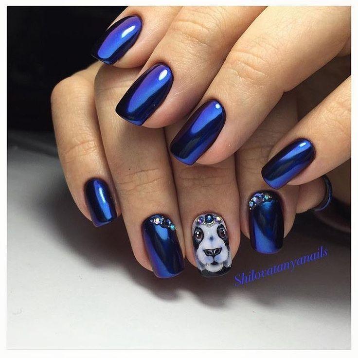 Глянцевый дизайн ногтей, Зимний маникюр 2017, Маникюр для молодых девушек, Маникюр зима 2017, Маникюр на квадратные ногти, Маникюр на средние ногти, Маникюр панда, Маникюр с животными