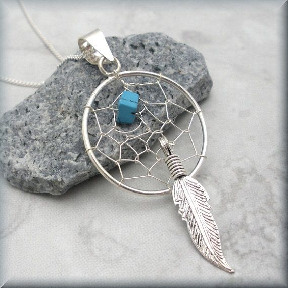 Dreamcatcher Necklace Sterling Silver Turquoise Stone Feather Dream Catcher Jewelry (SN720)