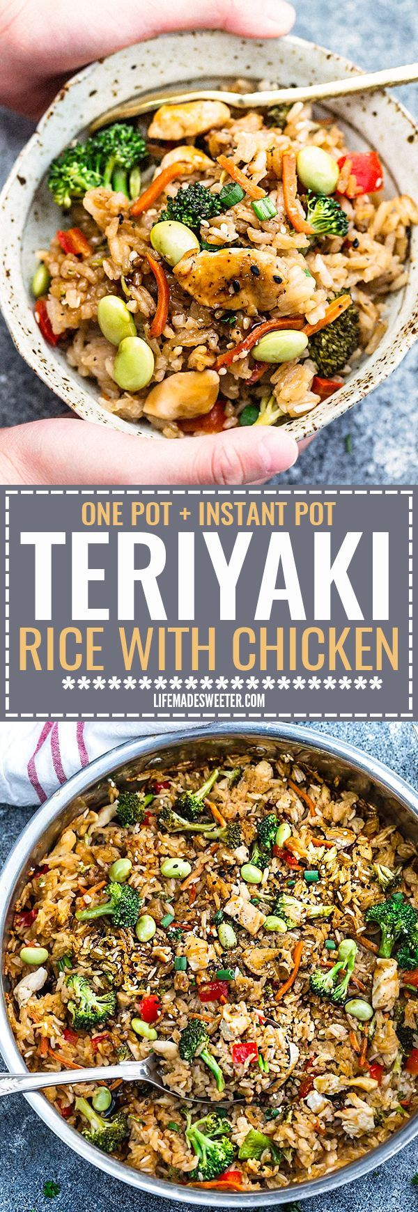 One Pot Teriyaki Rice with Chicken and Vegetables is the perfect easy weeknight meal. Best of all, everything cooks up in just ONE pan {plus bonus Instant Pot pressure cooker instructions} and has all the flavors of your favorite takeout restaurant dish. A great Sunday meal prep recipe for your work or school lunchbox or lunch bowl and way better than takeout!
