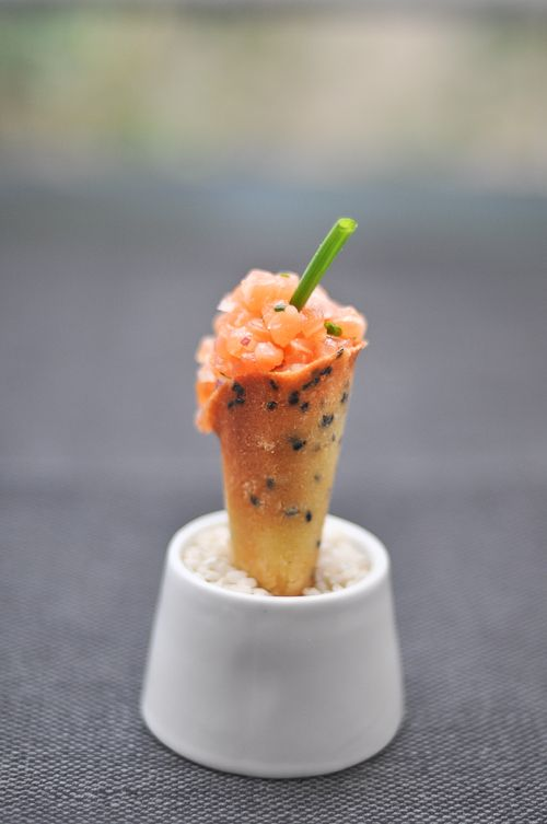 Tartar served in a small cone for easy tasting.