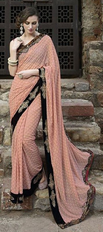 199067 Pink and Majenta  color family Embroidered Sarees, Party Wear Sarees in Faux Georgette fabric with Border, Machine Embroidery, Thread, Zari work   with matching unstitched blouse.