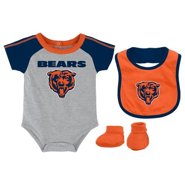 Chicago Bears Grey Newborn Creeper Bib and Bootie Set by Adidas: Make Sure Your Loved Ones Is… #CubsJerseys #BlackhawksJerseys #BullsJerseys