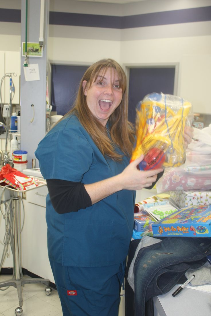 Melissa, our RVT getting excited! #Animal Hospital #Veterinarian #Pets #Vet #KAH #FrederickMaryland #Christmas #GivingBack