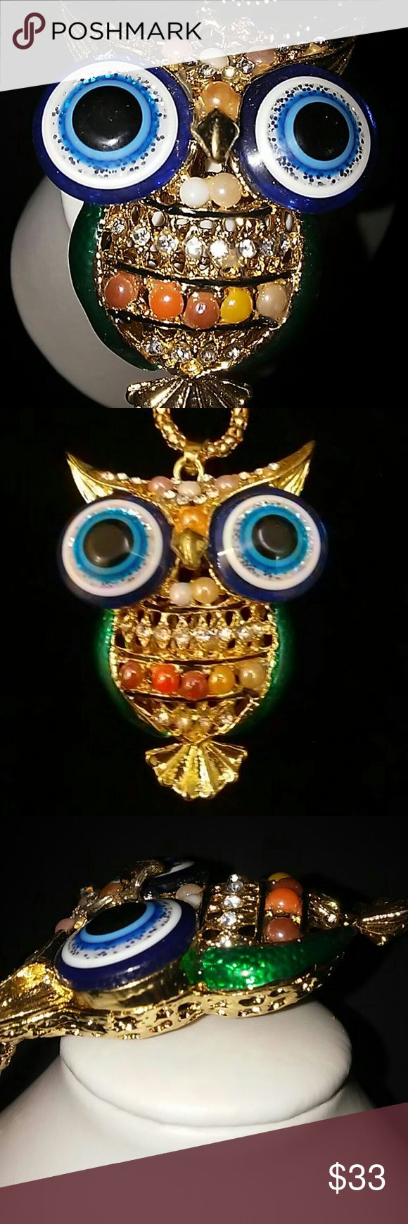 New Betsey Johnson Owl sweater necklace New cute big eye owl. Huge blue. Eyes is so adorable  And rare. A fine piece of jewelry very. Well maid All pics taken by me this is what you will get  Exact one Betsey Johnson Jewelry Necklaces