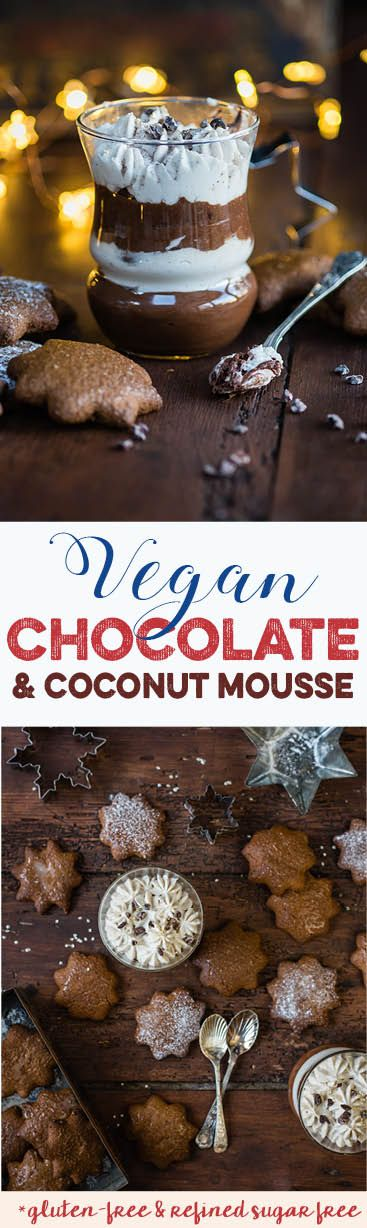 Vegan chocolate and coconut layered mousse made with aquafaba and full of festive spices. An easy but delicious Christmas dessert.