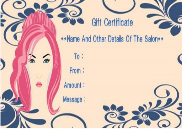 Beauty salon gift certificates template Salon Gift Certificate - gift certificates samples