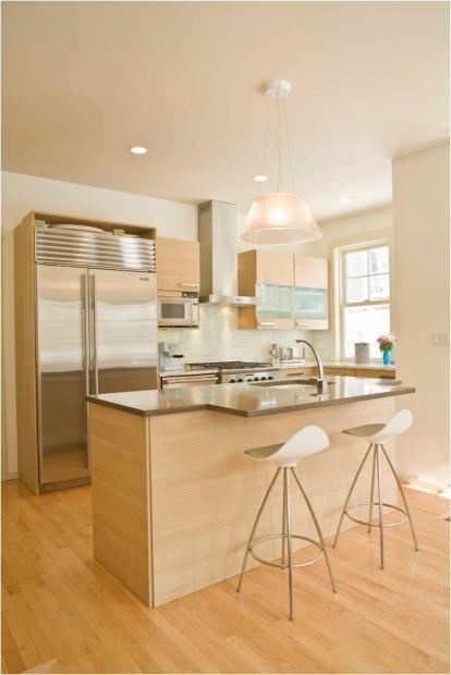 Contemporary U-shaped White kitchen, maple/beach cabinets, Susan Cory, Cory Associates Architects with Rosemary Porto,