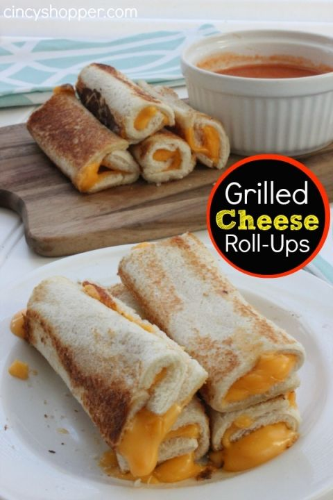 Grilled Cheese Roll-Ups- Perfect with some tomato or chicken noodle soup for lunch or dinner. A kiddo and adult favorite!