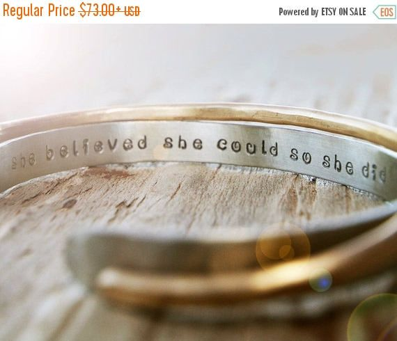12 best gifts images on pinterest diy presents gift ideas and graduation gift for her inspirational bracelet silver and gold toned cuffs she believed she could so she did hammered inspirational gift solutioingenieria Choice Image