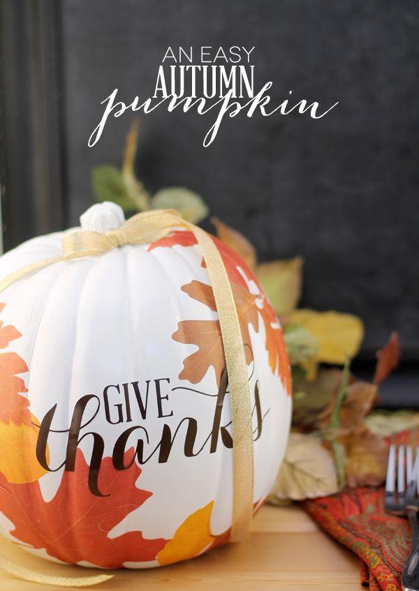 DIY Decoupage Autumn Craft Pumpkin for @michaelsstores using @Cricut and @plaidcrafts  | Damask Love #thanksgiving #pumpkin #crafts
