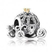 Charm Berloque em Prata e Ouro Solido 14 K Carruagem Cinderela Disney #MargoBonita #Berloque #Charm #Pingente #Disney #Cinderela #Carruagem