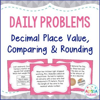 This resource contains 30 problems involving place value, comparing, ordering, and rounding decimals (through the thousandths place). They are written like word problems, with several problems incorporating tables, pictures, grids, and number lines. There are so many options with this set!