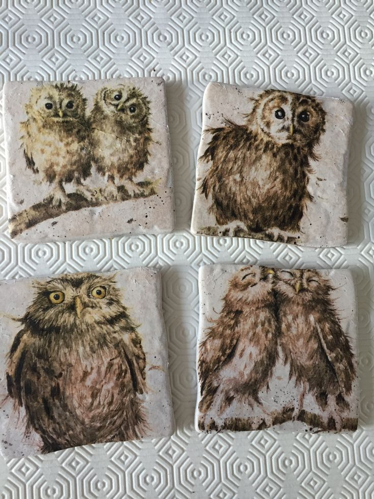Owls Coasters sold by Peppershells Vintage