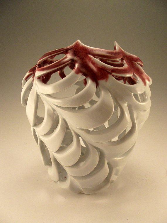 Angel's Share  sculpted luminary white porcelain vase by lenconte, $159.00