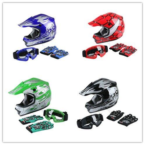 DOT <font><b>Motorcycle</b></font> <font><b>helmet</b></font> Youth <font><b>Kids</b></font> motocross Dirt Bike Offroad Street <font><b>Helmet</b></font> Goggles+Gloves S/M/L