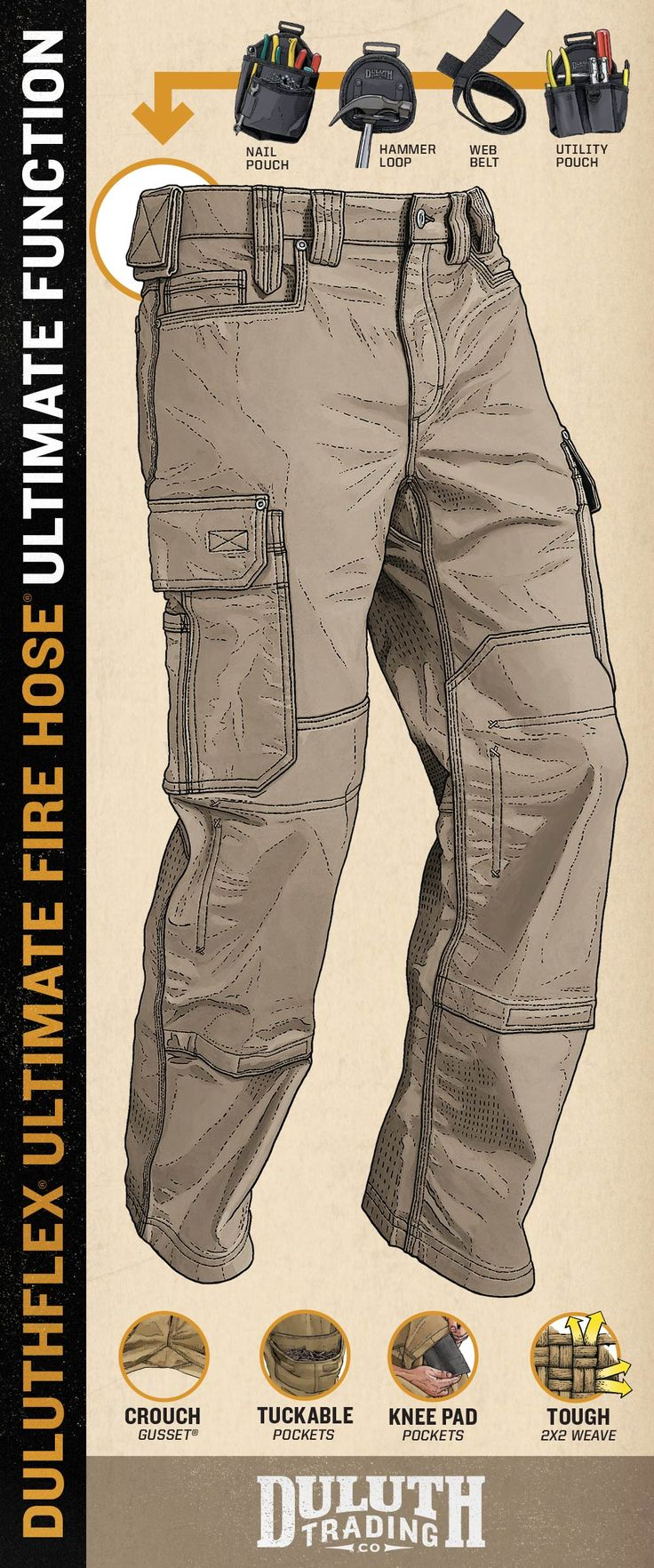 Side tabs for hammers, tape or a knife. Knee pad pouches. Hammer loops. 13 pockets. Ultimate Fire Hose Work Pants have so much storage, they're a wearable toolbox. Even the pockets have pockets! Could you possibly have more in your pants? We don't think so.