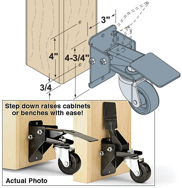 Woodworker.com: STEP DOWN CASTERS FOR WORKSHOP CABINETS