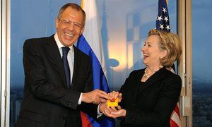 Hillary Clinton presents her Russian counterpart, Sergey Lavrov, with a reset button during a meeting on 6 March 2009 in Geneva.