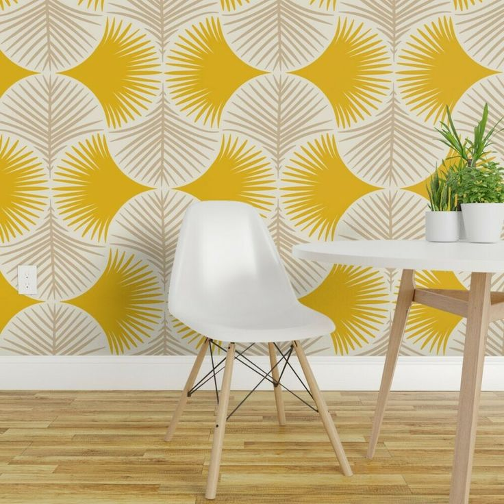 Peel-and-Stick Removable Wallpaper Tropics Yellow Beige ...