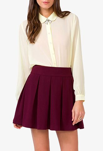 Sheer Peter Pan Collar Shirt | FOREVER21 - 2018569903 $17.80 /// wear a camisole underneath or wear under a jsk