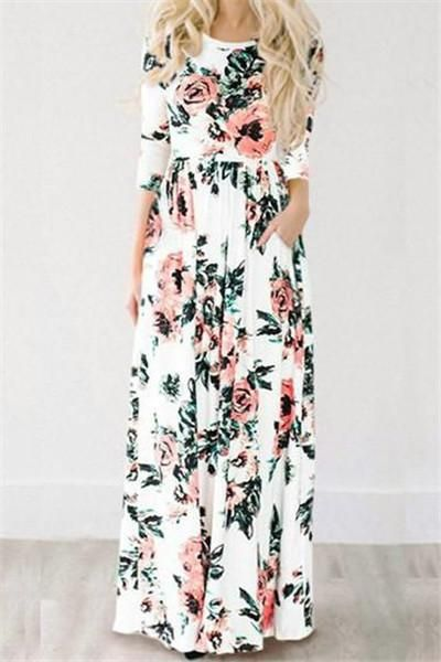 $36.99 Chicnico Ecstatic Harmony White Floral Print Maxi Dress 2018 Fashion Spring Flower Summer Long Dress