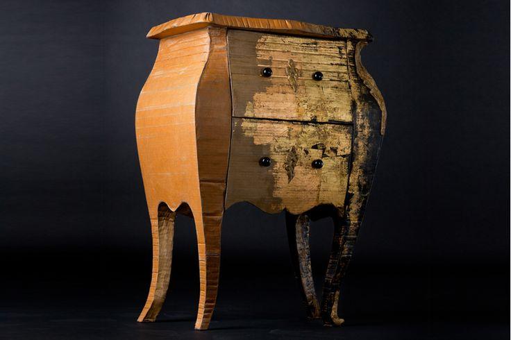 Table de chevet en carton design, la galerie   Emilie Mazeau-Langlais