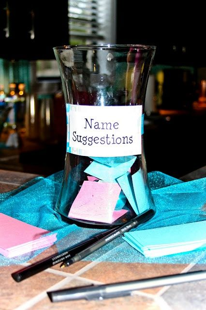 I love the idea of collecting baby name suggestions in a box or jar then having the mom read them as someone else adds them to a large poster board.  Best Gender Reveal Party Activity!
