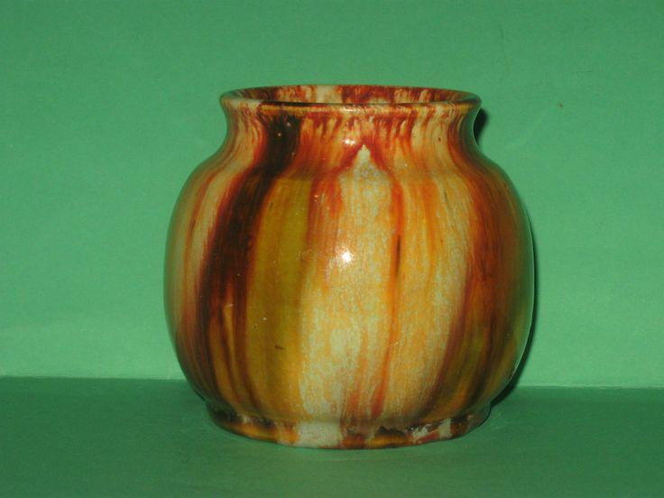 "9cm x 11cm "" John Campbell Pottery  ""  Tasmania   Drip Glaze Pot  -  Signed"