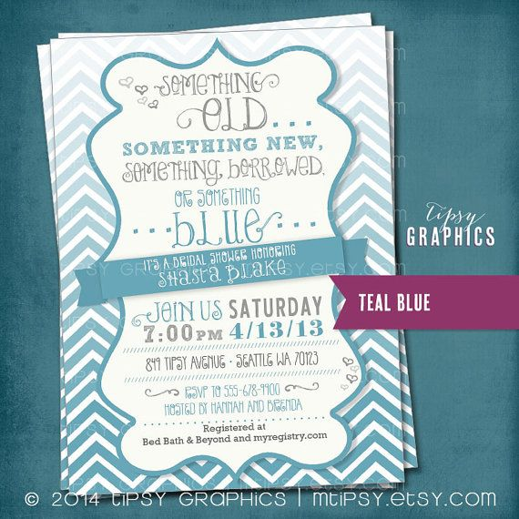 I FOUND THE INVITE!!!! Something Blue. Ombré CHEVRON Bridal Wedding Shower by MTipsy, $16.00