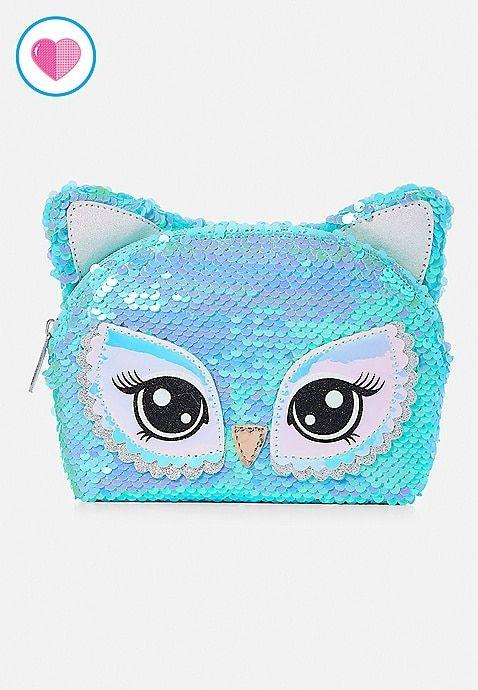 172c42a0ec Owl Flip Sequin Cosmetic Bag